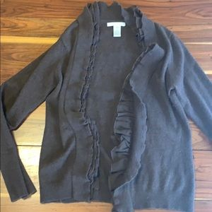 Sarah Spencer Brown Ruffled Cardigan